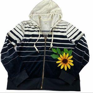 Calvin Klein Velour Hooded Zip Jacket Striped